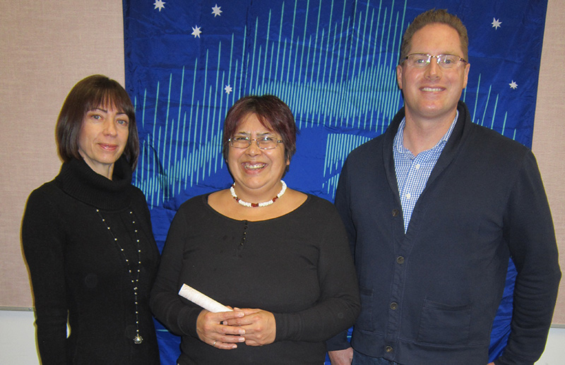 (Left to Right) Donna Phillips EVP Corporate Development Canbriam Energy Inc, Theresa Laberge Aboriginal New Student Award winner, Chris King Sr. Surface Landman Canbriam Energy Inc.